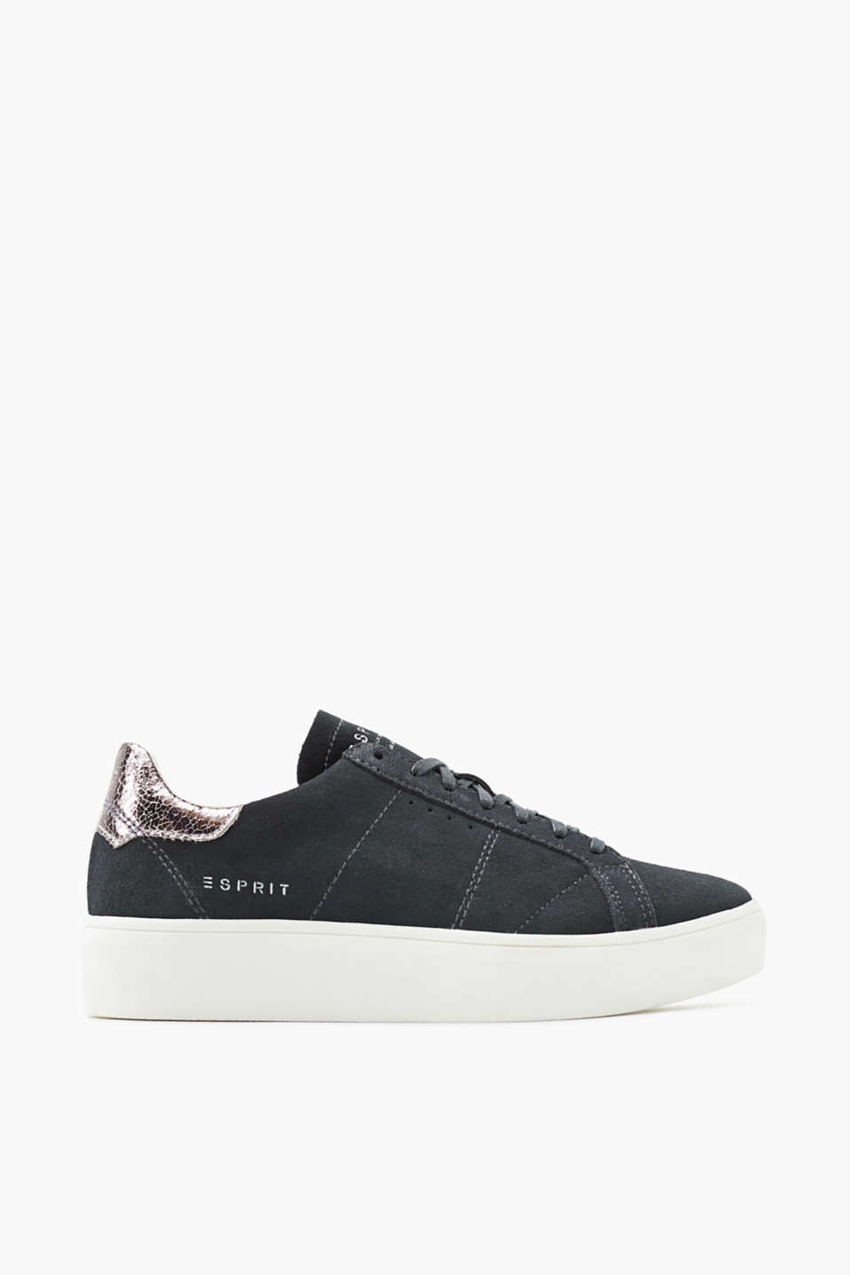 Cowhide trainers with a metallic heel trim and a distinctive rubber sole