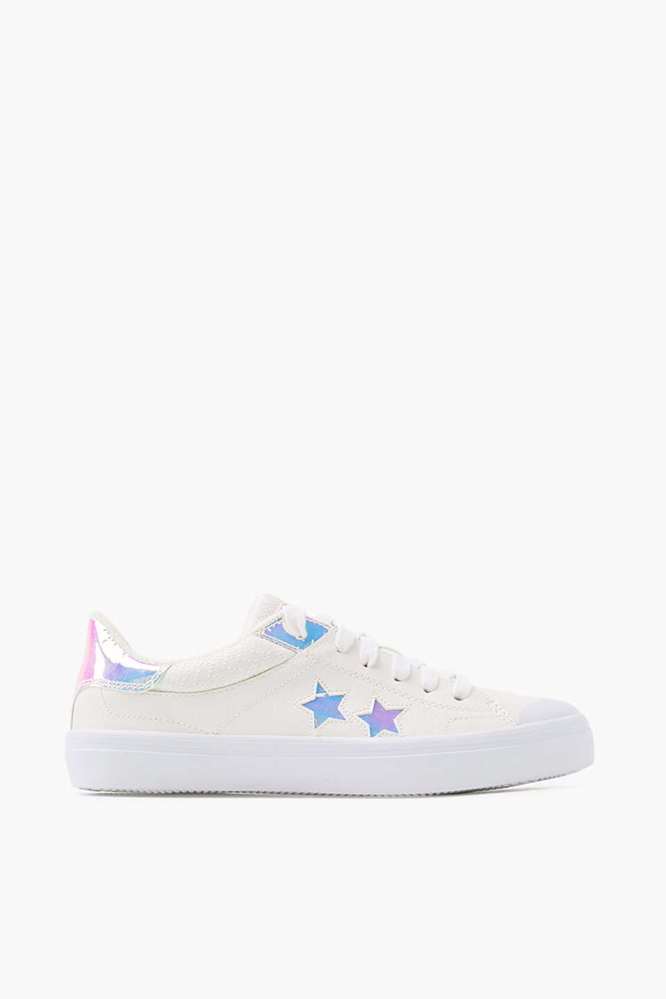 With a rubber sole: lace-up trainers with reflective star details, in faux leather