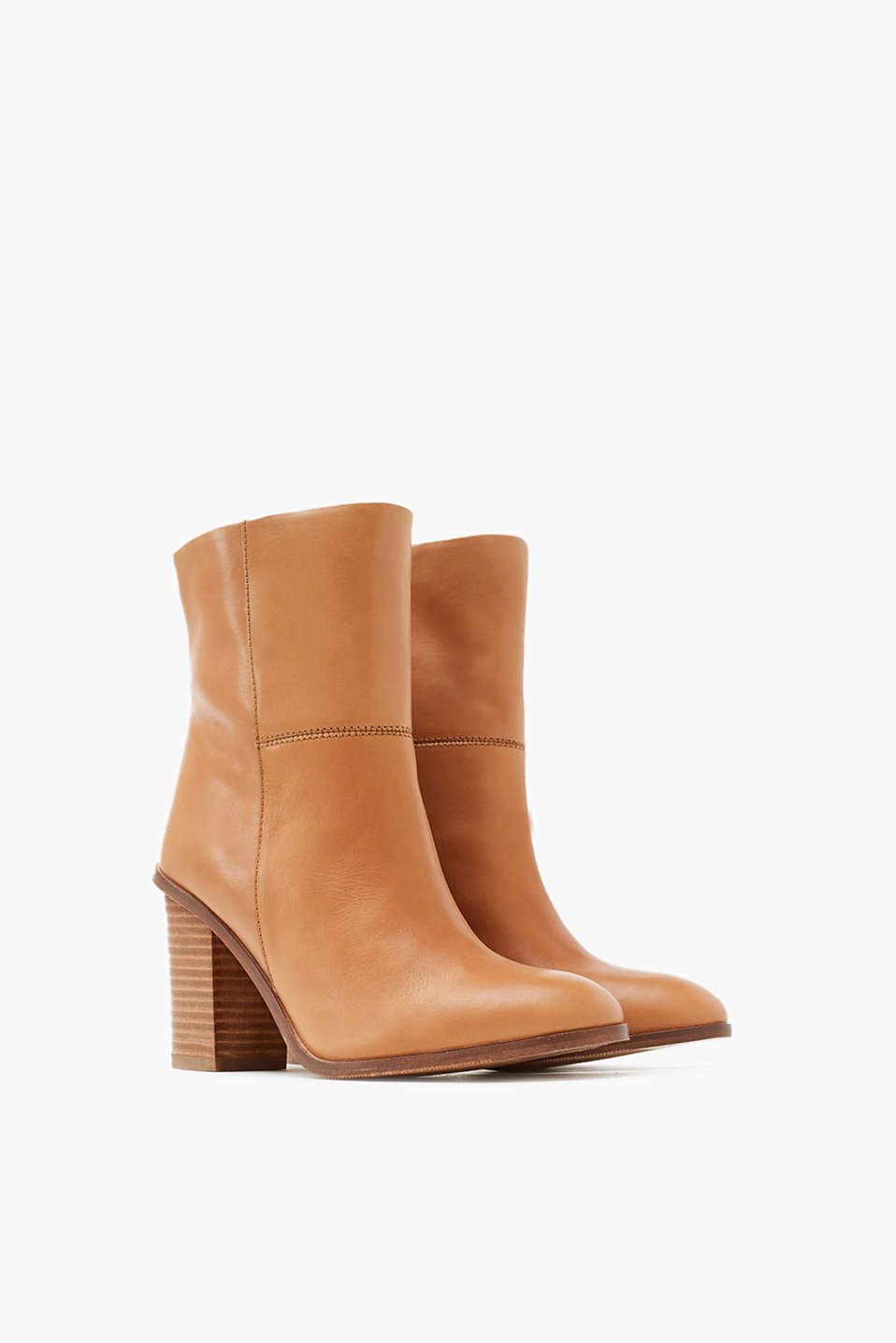 Ankle boots in smooth leather, block heel