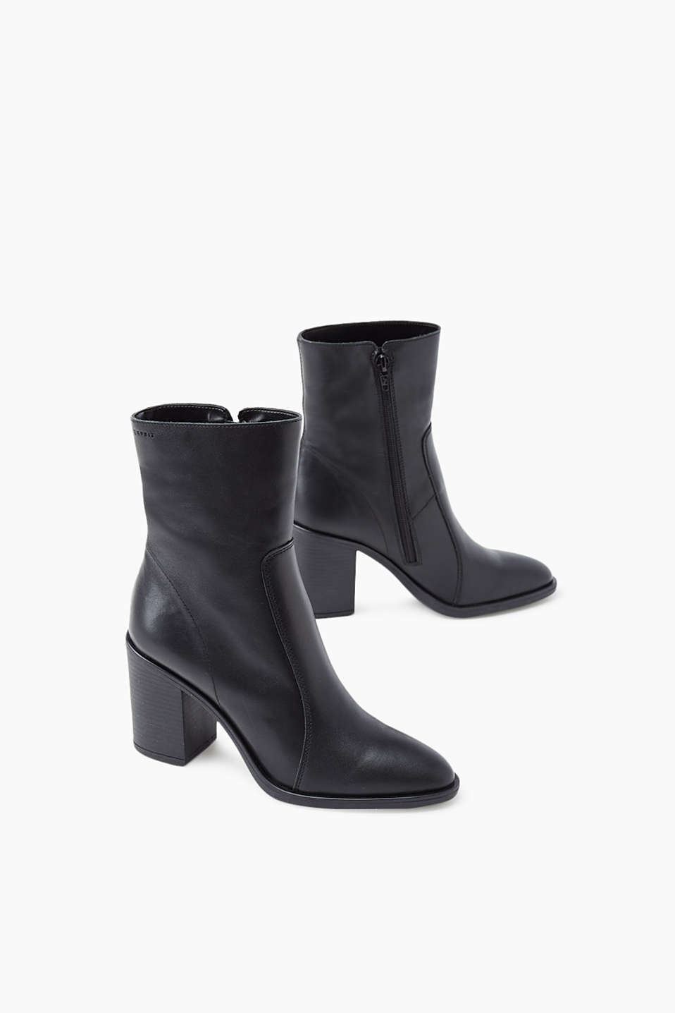 info for d3f52 66e17 Ankle boots in smooth leather + block heel
