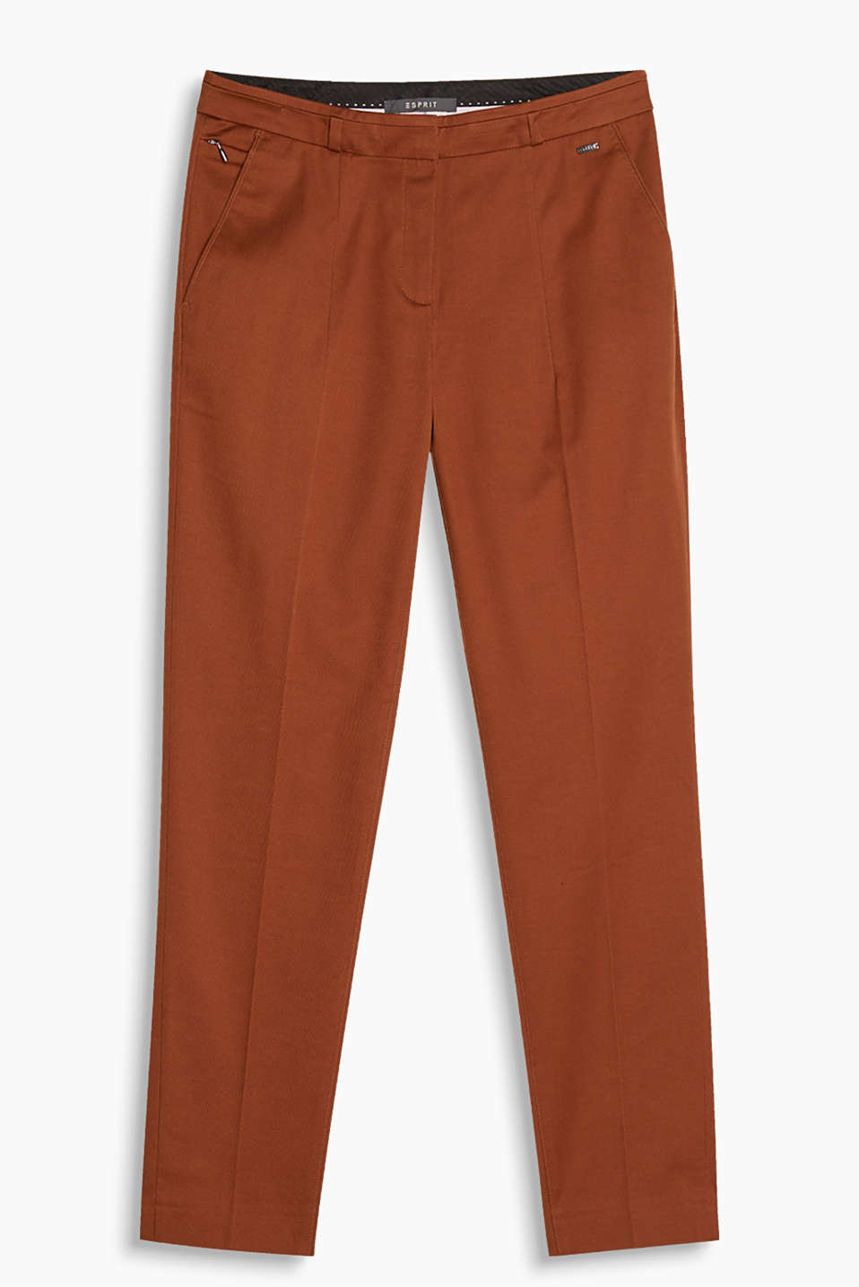 Slim fit trousers in smart twill, with pressed pleats and a concealed zip pocket, cotton/stretch