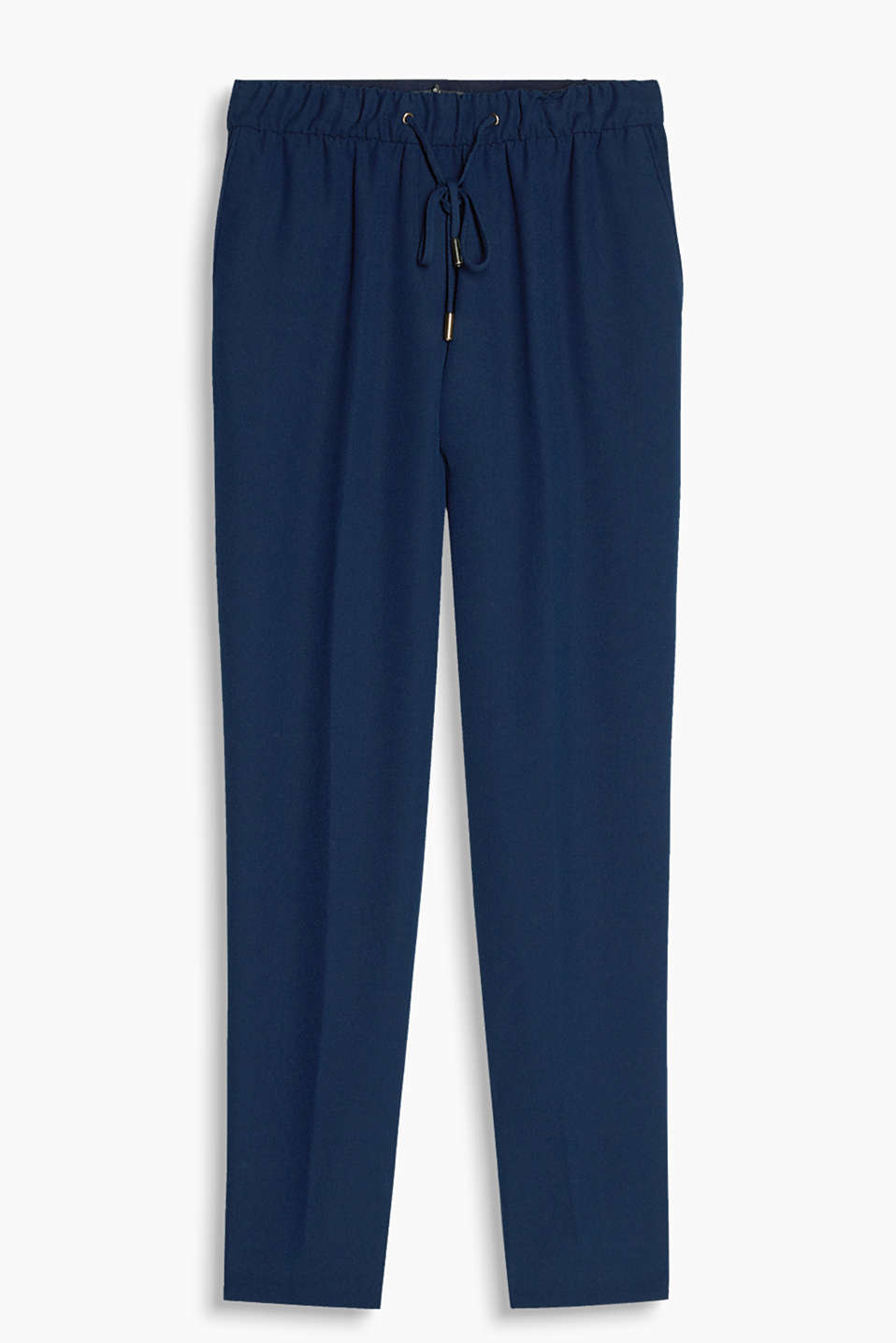 Casual and smart trousers in a loose cut made of flowing crêpe with an elasticated waistband