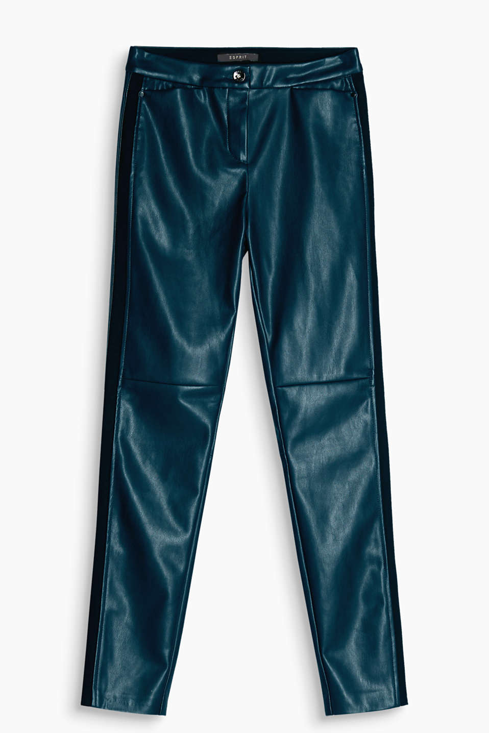 Trendy skinny trousers in a cool leather look with tuxedo stripes in jersey