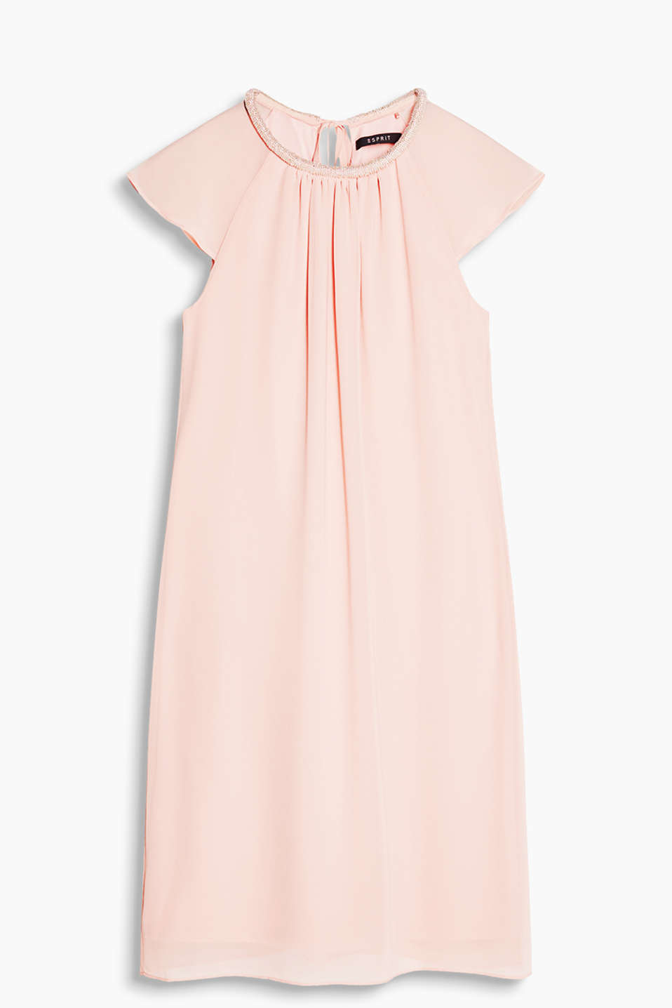 Fitted dress in delicate chiffon with embellishment at the neckline