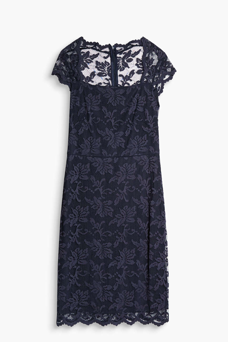 Soft lace dress with added stretch for comfort and a charming square neckline