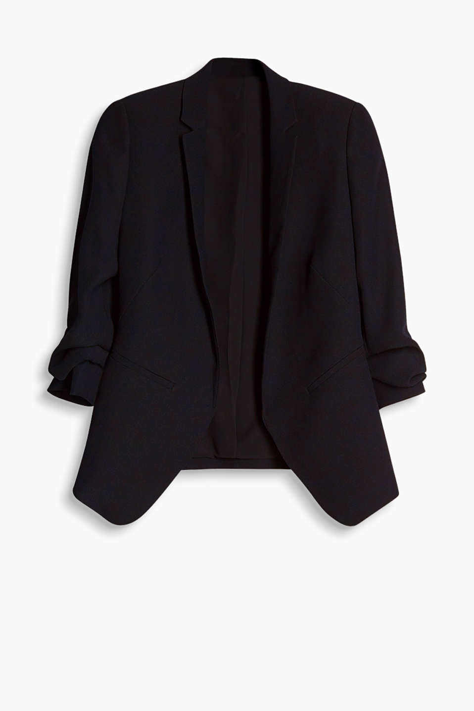 Open blazer in flowing fabric with gathered sleeves