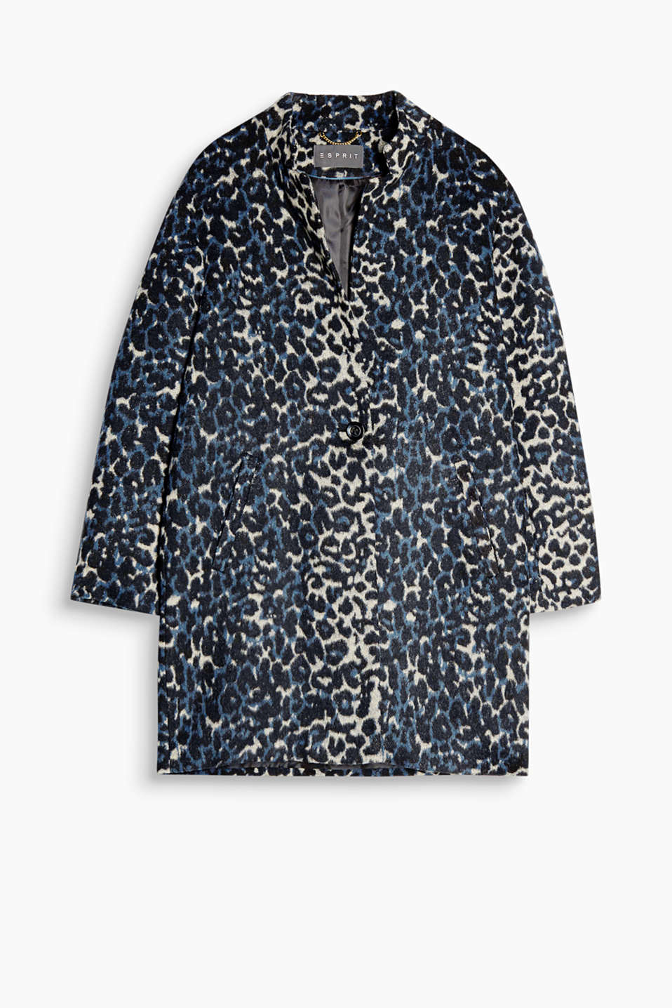 Made of a fabric blend with wool: coat with a stylish leopard print