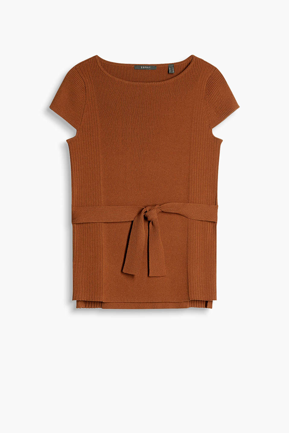 Jumper in firm crêpe yarn with a subtle grain, ribbed textured, cropped sleeves and a tie-around belt fixed at the sides