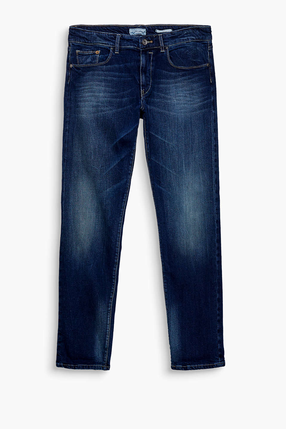 """The Wardrobe"": jeans with a dark garment wash and a woven selvedge edge, made of blended cotton with stretch"