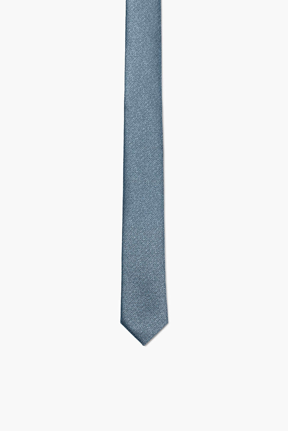 Skinny tie with a tone-in-tone texture and a fine sheen