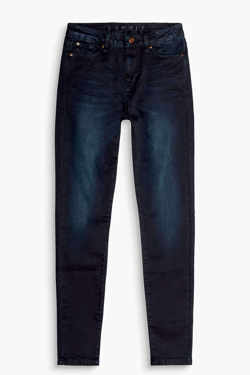 Dark, garment-washed five-pocket jeans with casual vintage effects