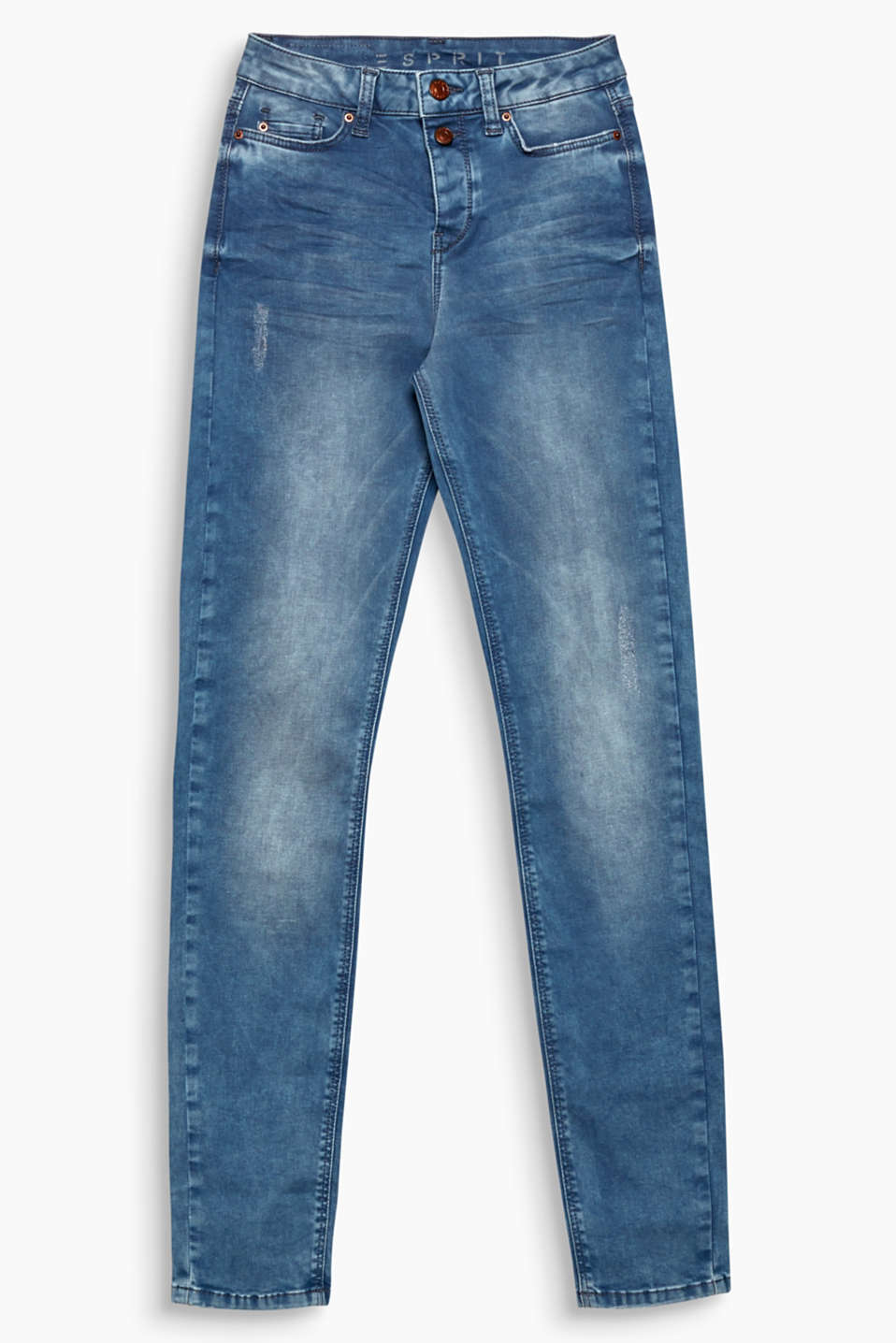 Stretch jeans in a cotton blend with a semi-concealed button placket and a vintage finish