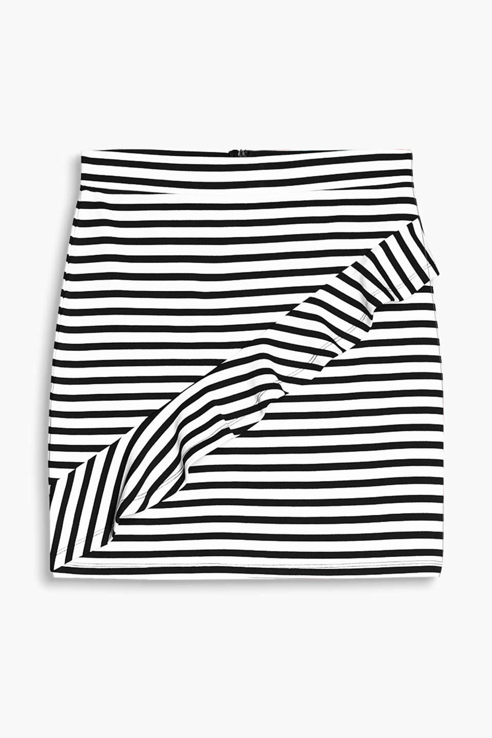 Dense stretch jersey skirt with stripes and ruffles