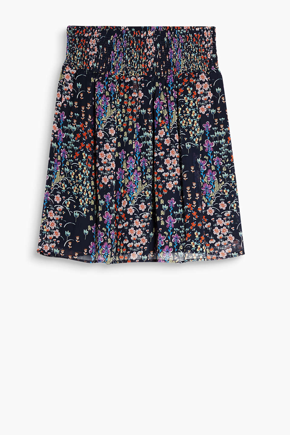 Swirling skirt in delicate crinkle chiffon with a colourful floral pattern and a wide smocked waistband