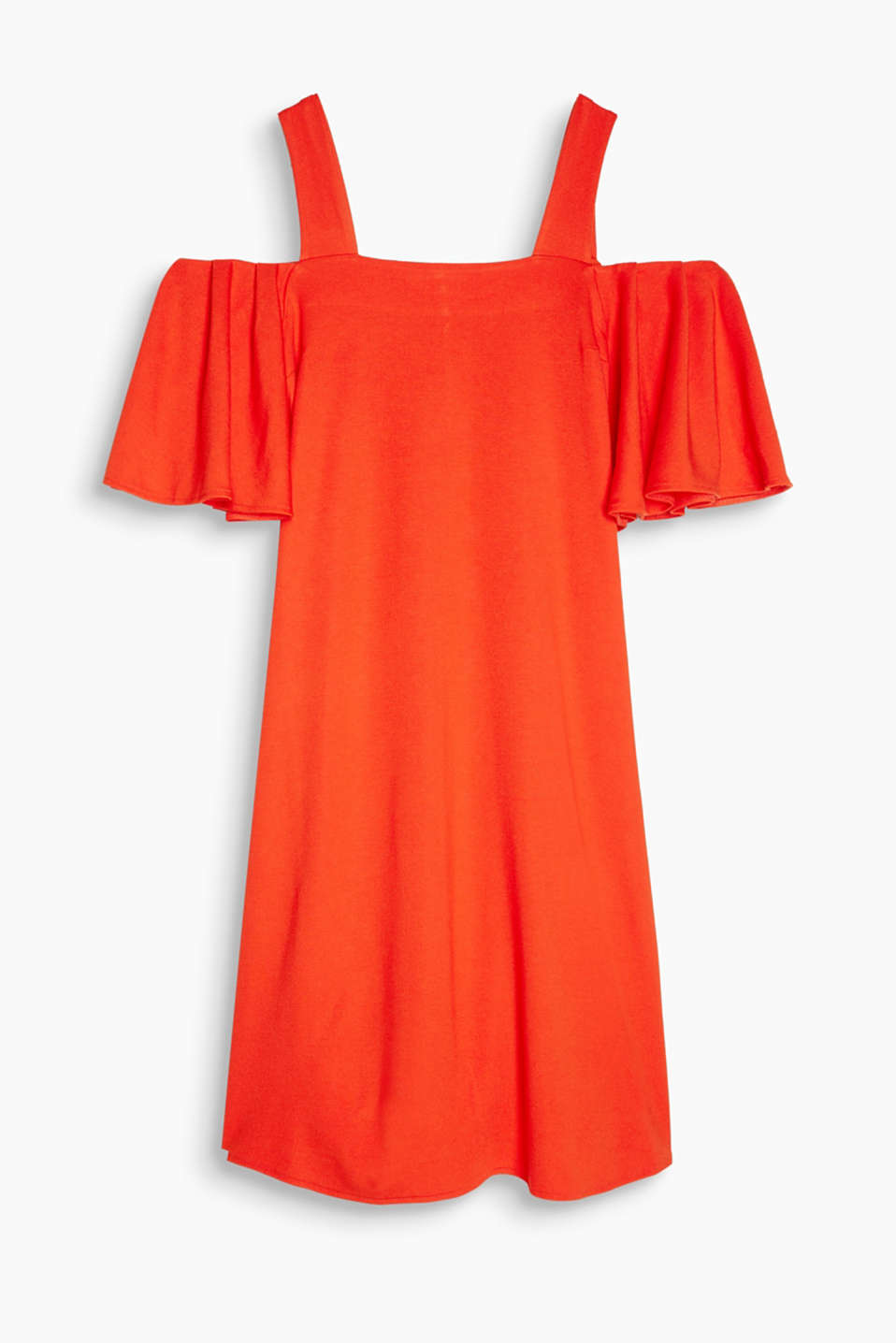 Dress in stretchy heavy jersey with cut-out shoulders and flounce sleeves