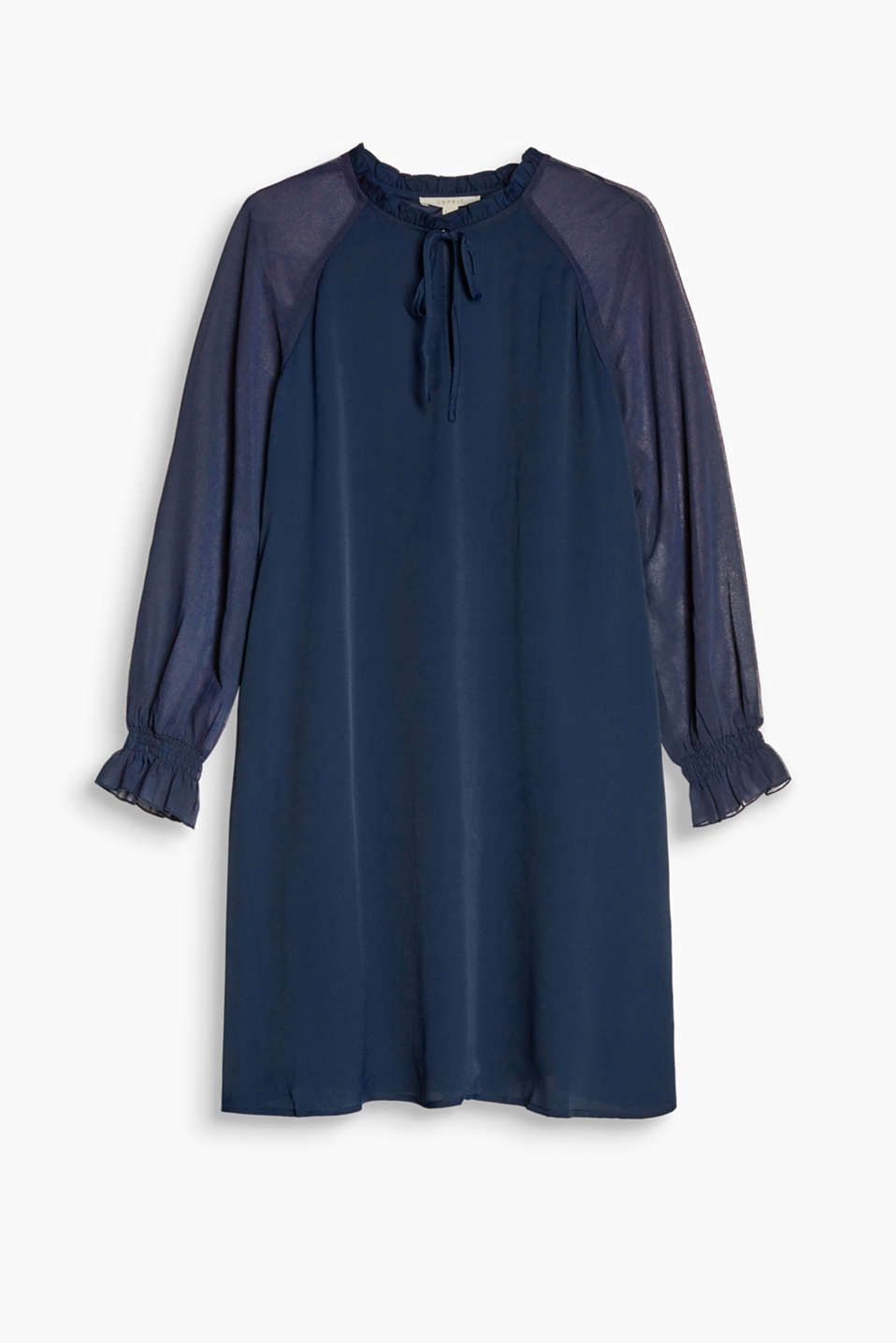 This crepe chiffon dress with a frilled collar comes in a softly flowing A-line silhouette