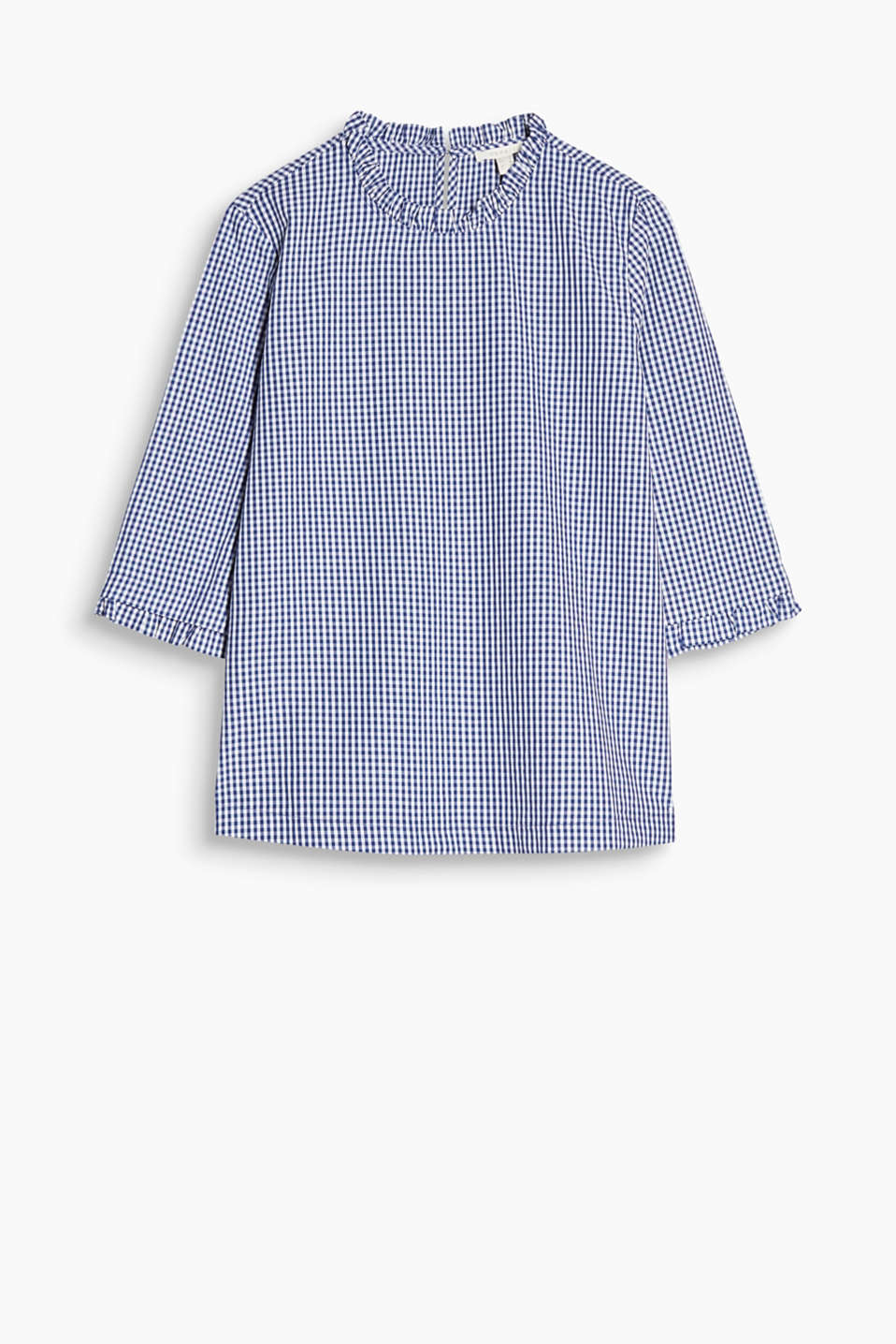 Boxy blouse in a pretty look with a fine frilled trim on the round neckline and sleeve ends