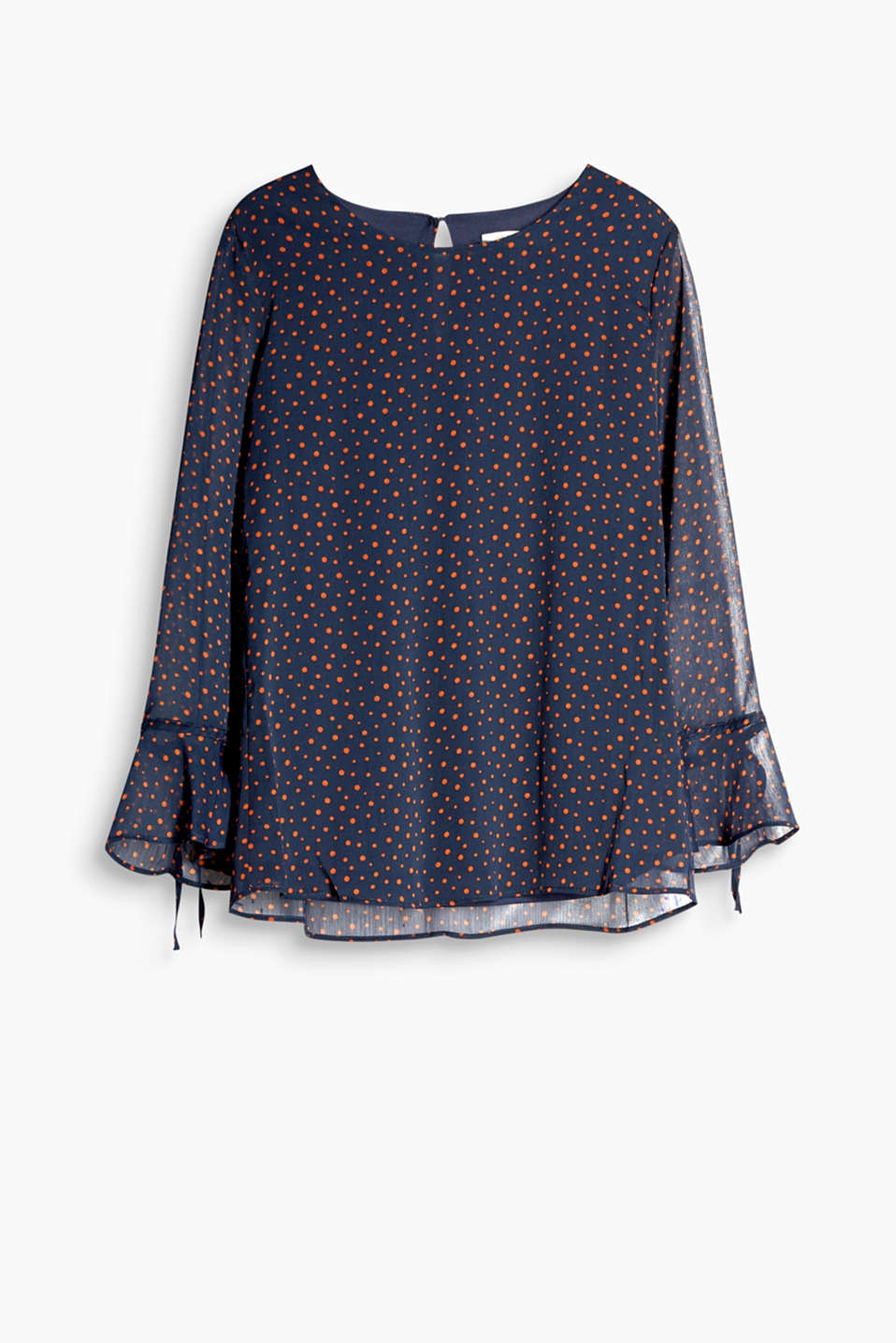 Charming polka dot blouse in chiffon with flounce sleeves