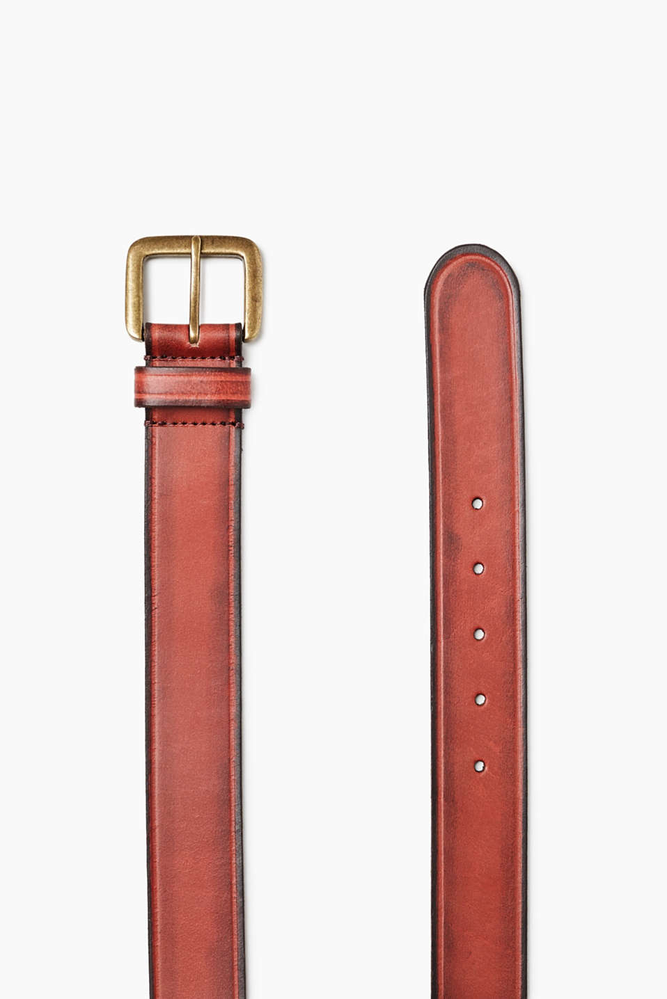 Belt in robust buffalo leather with a rectangular metal buckle