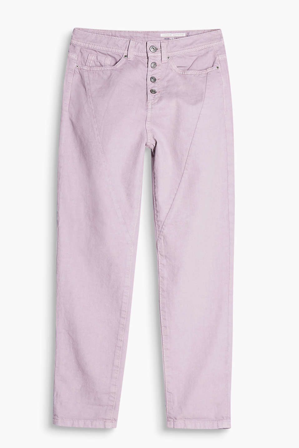 5 pocket, cotton twill trousers with diagonal dividing seams and a striking button fly