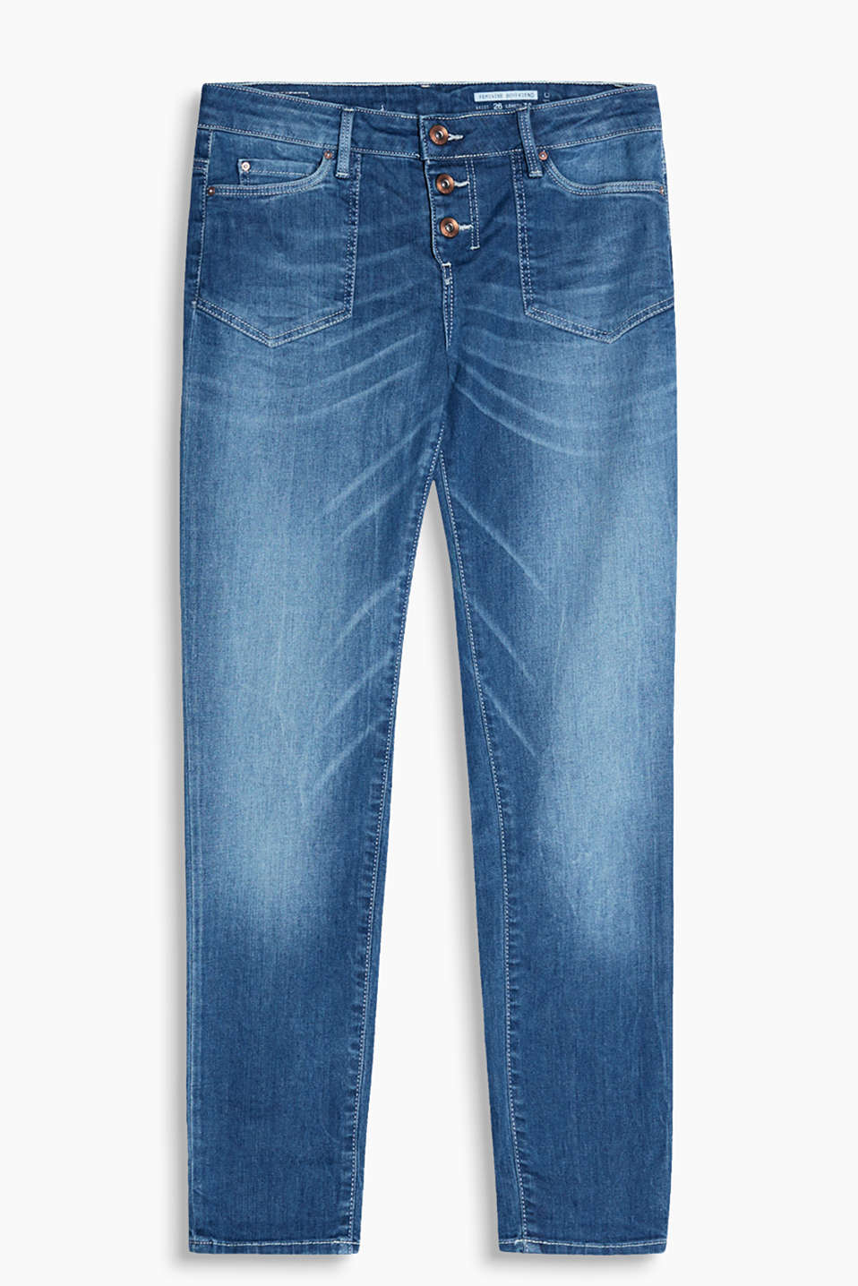 Cropped garment-washed five-pocket jeans with distinctive pockets in blended cotton with a percentage of stretch