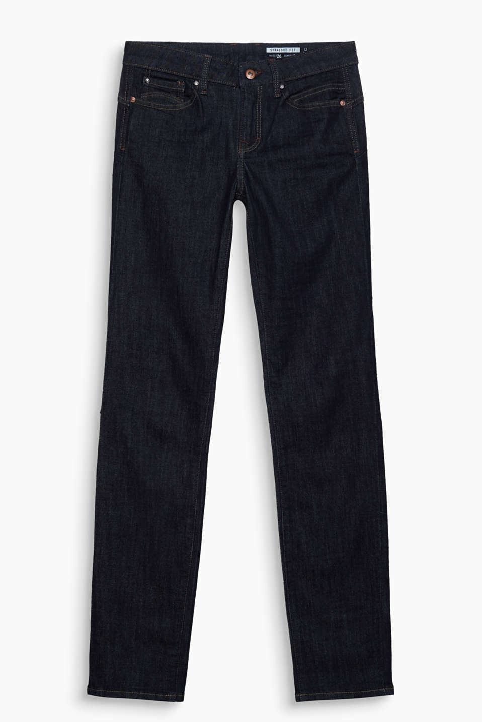 Straight cut stretch jeans in straightforward dark denim with flap pockets at the back