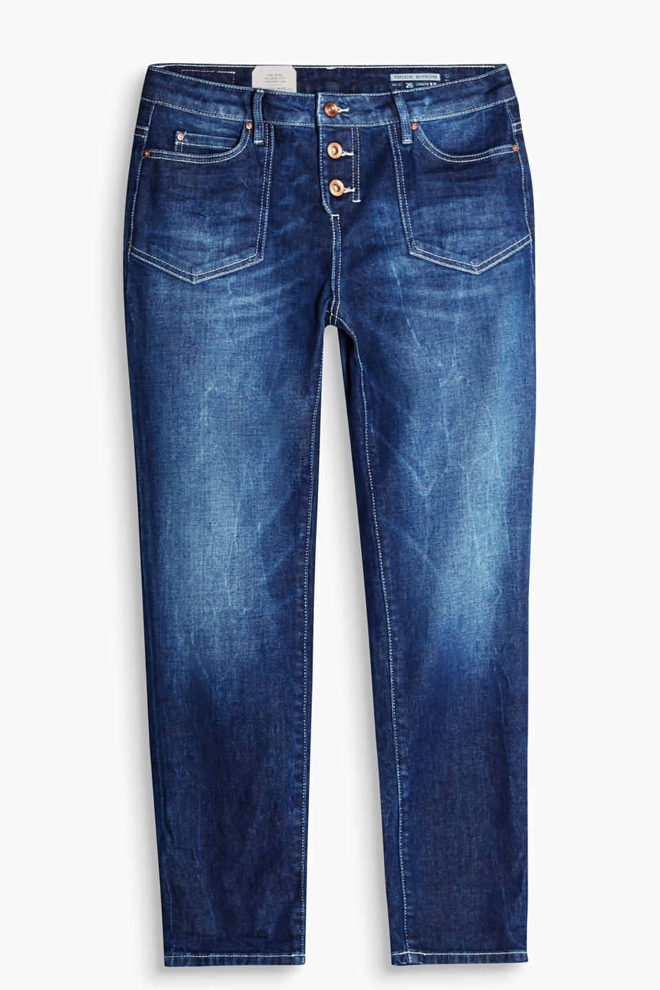 Cropped cotton jeans containing a high percentage of elastane with patch pockets and a button fly