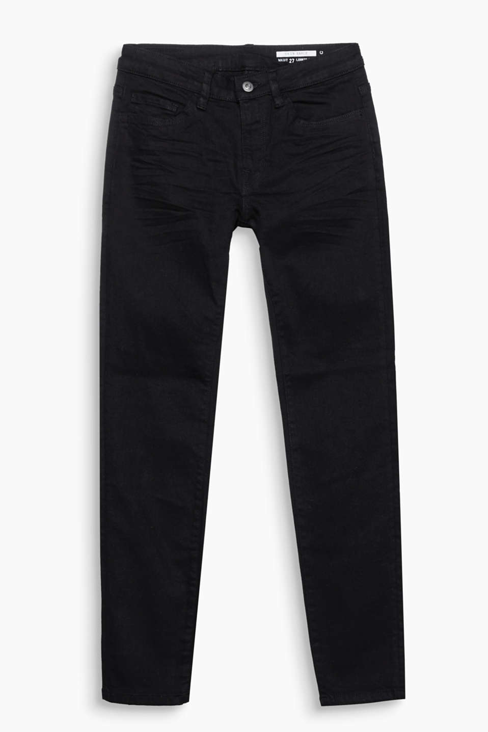 Cropped five-pocket jeans in cotton denim with added stretch for comfort and authentic garment-washed effects