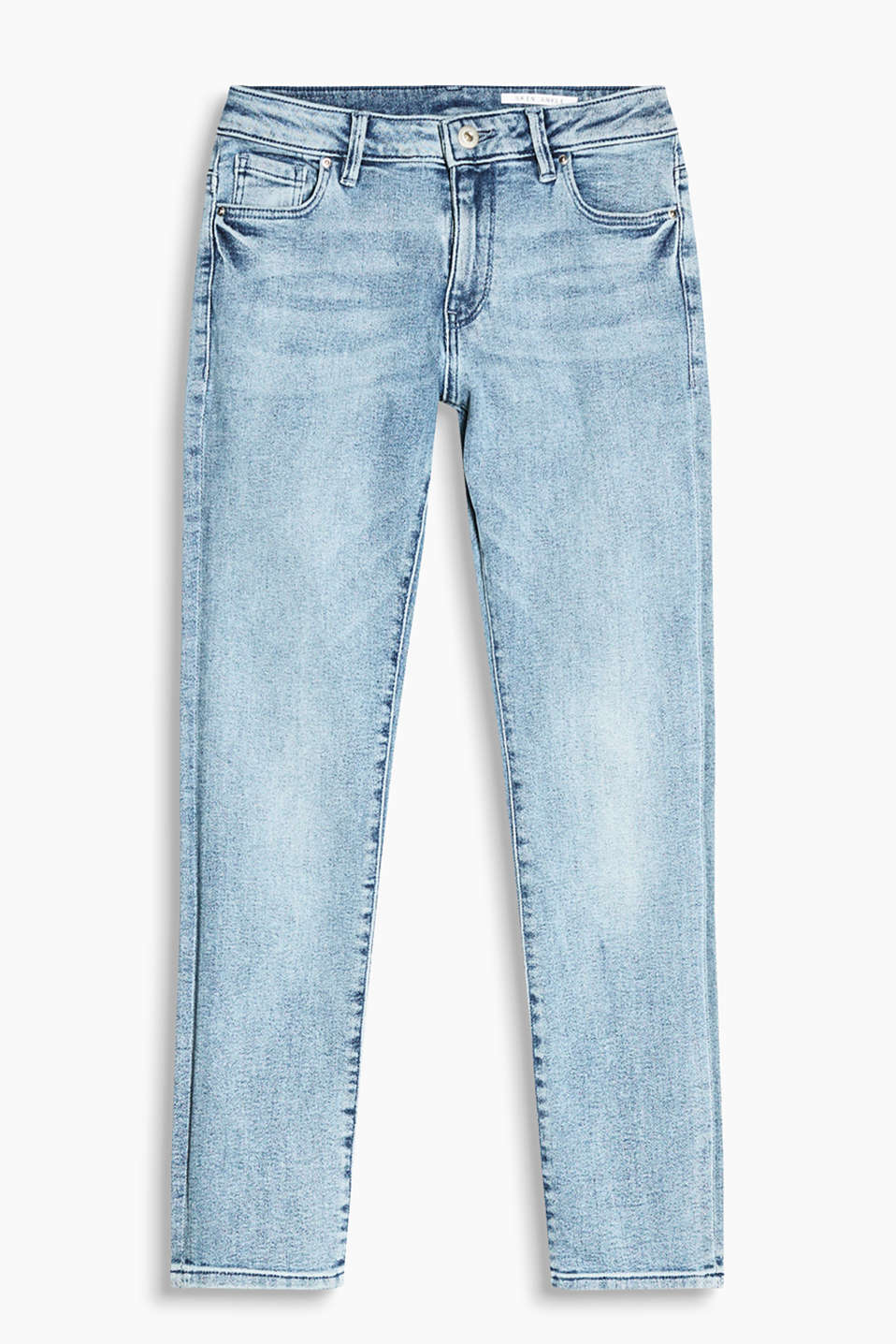 Show off your ankles in these trendy cropped jeans made of faded stretch cotton denim