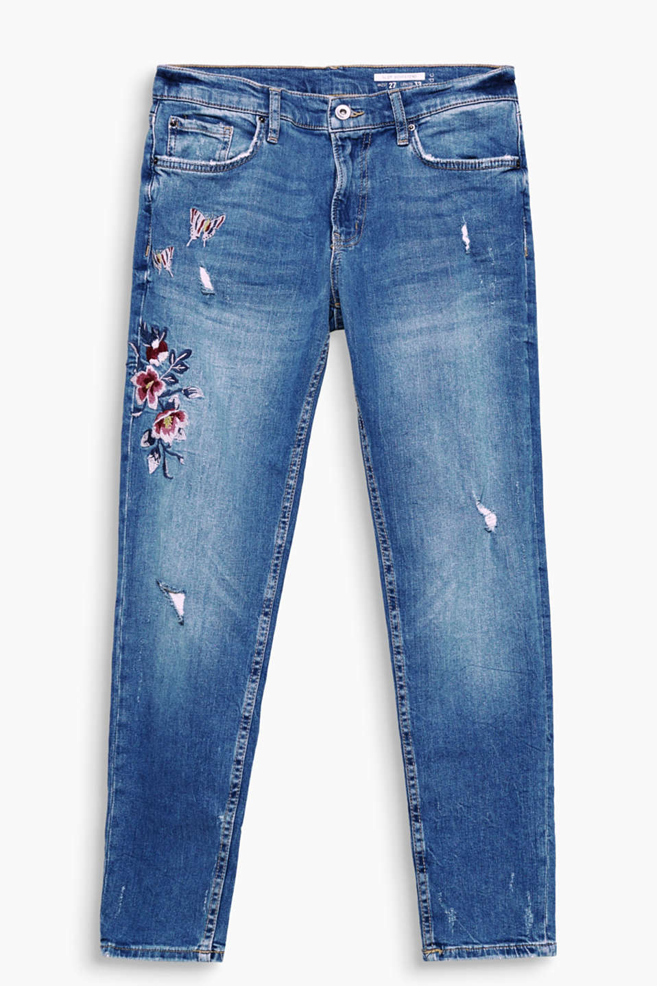 With a pre-washed and distressed finish plus floral embroidery: 5 pocket jeans made of comfy and stretchy cotton denim