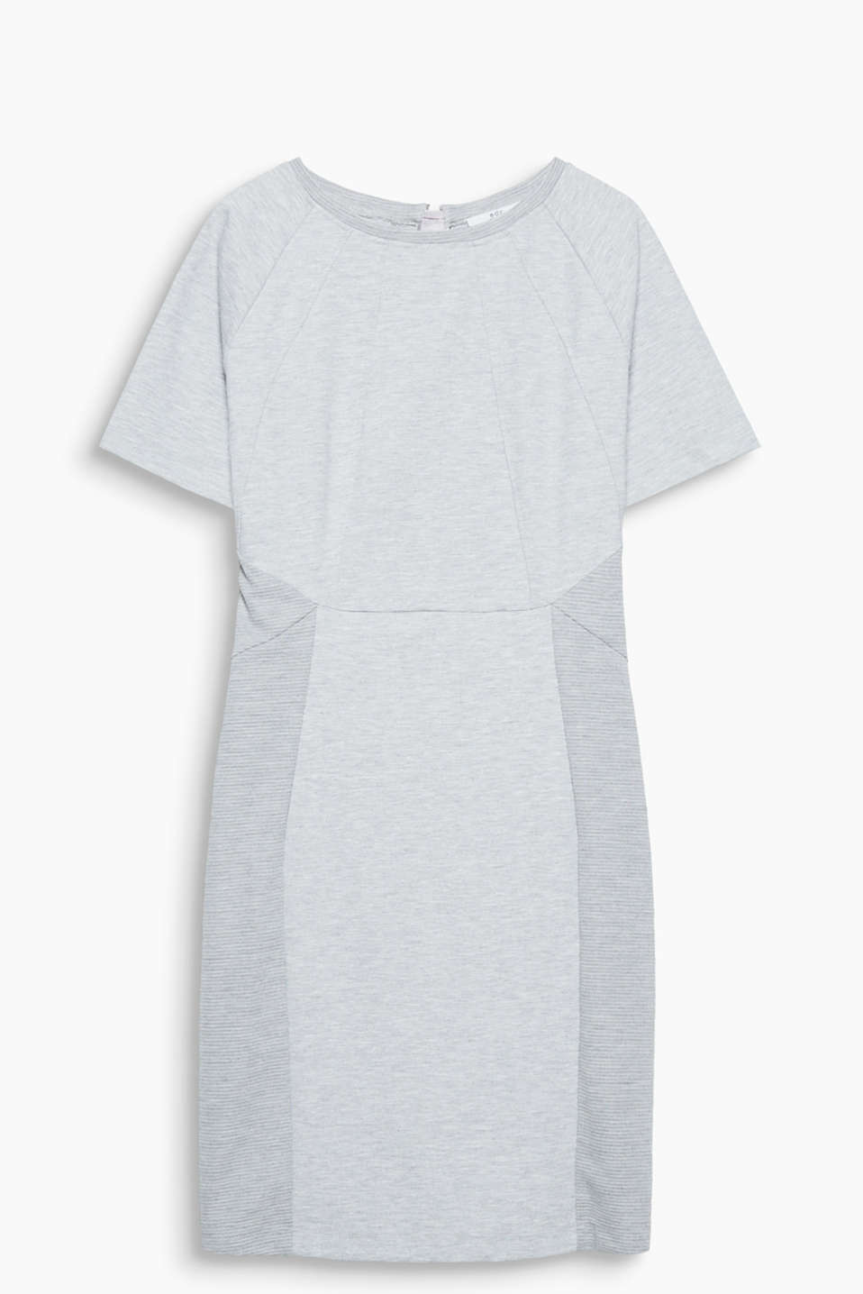 Sheath dress in soft jersey with raglan sleeves and a distinctive zip at the back