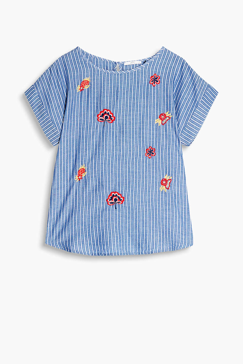 Boxy striped blouse with embroidered flowers, 100% cotton