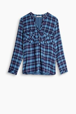 henley check blouse