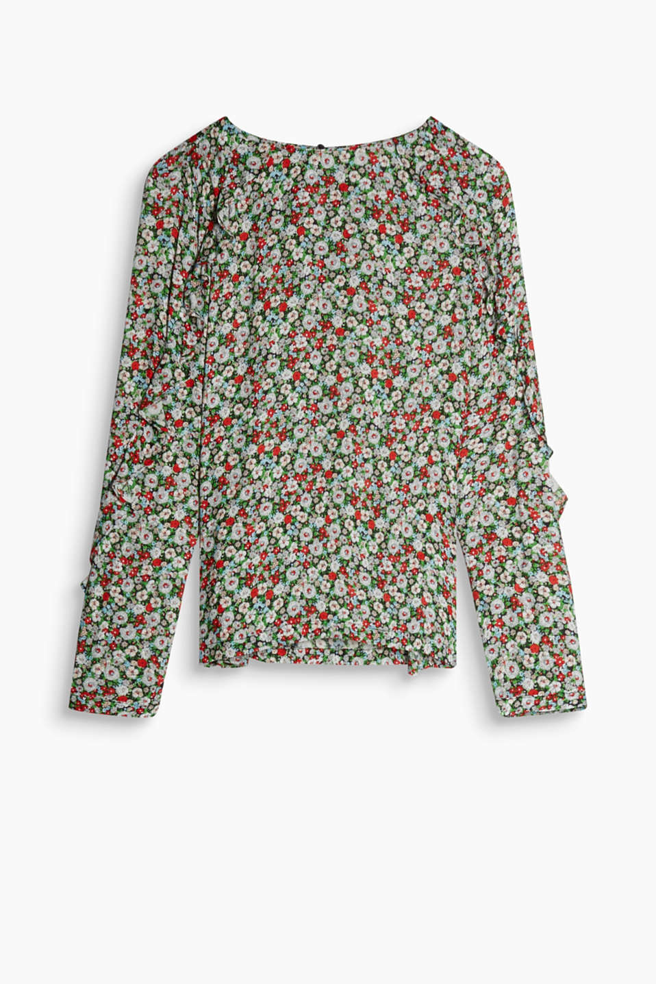 Blouse with a feminine floral print and frills made of pure viscose