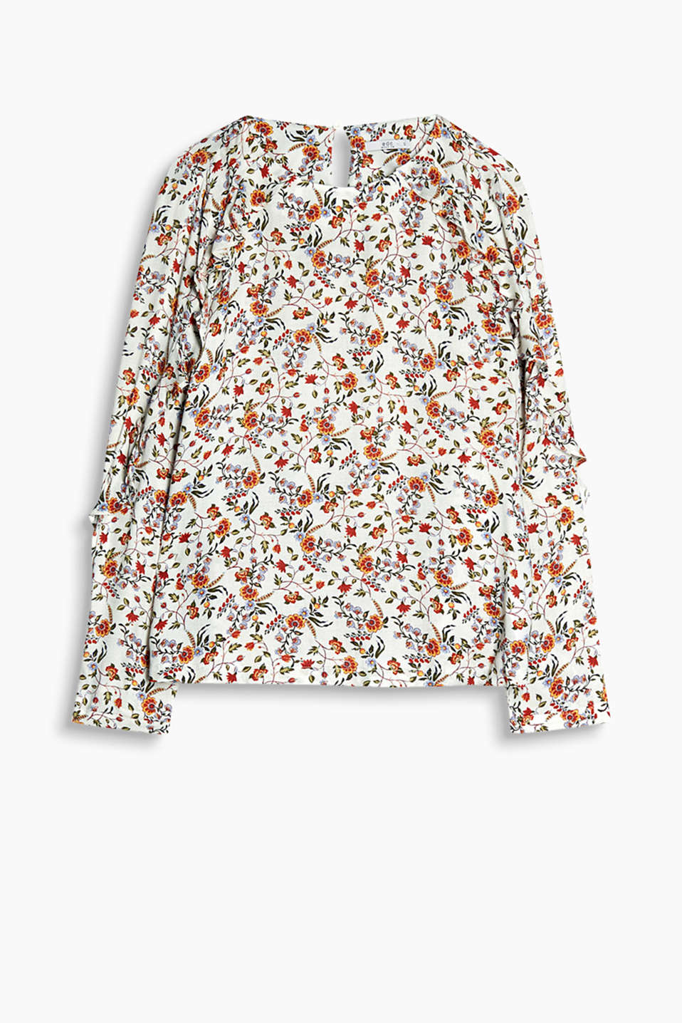 Flowing blouse with colourful floral print and frilled sleeves