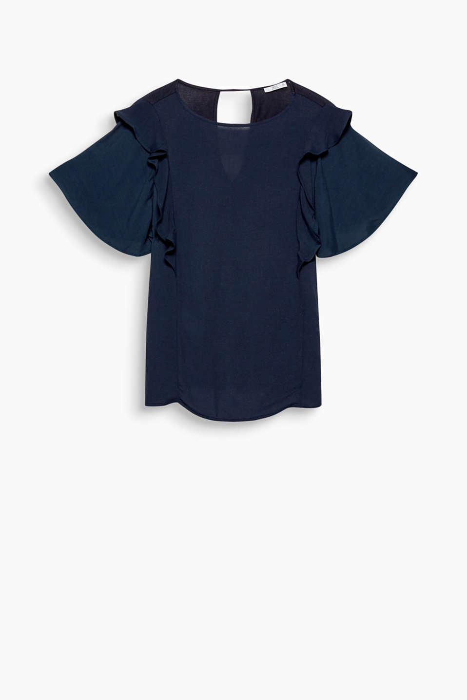 With a wide round neckline and feminine flounces at the shoulder sections: blouse in soft blended fabric