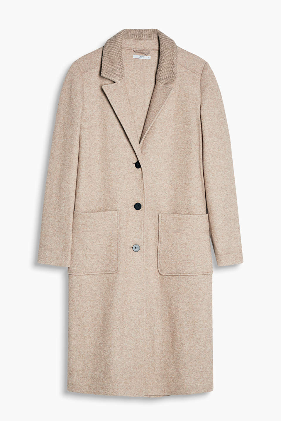 Unlined coat in melange blended wool with a fine knit finish