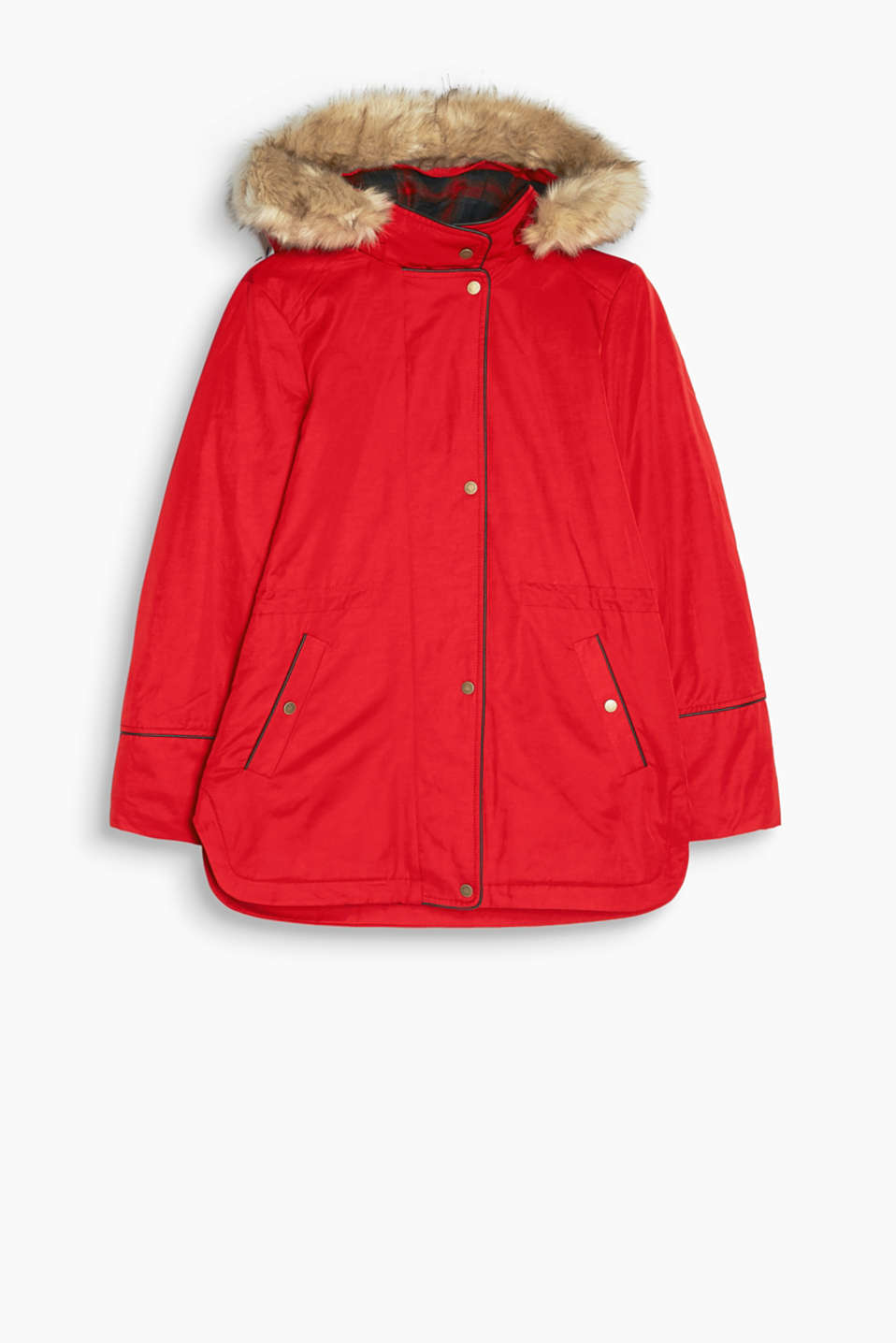 Cool, lined parka with a hood with a faux fur trim in a durable mix of materials