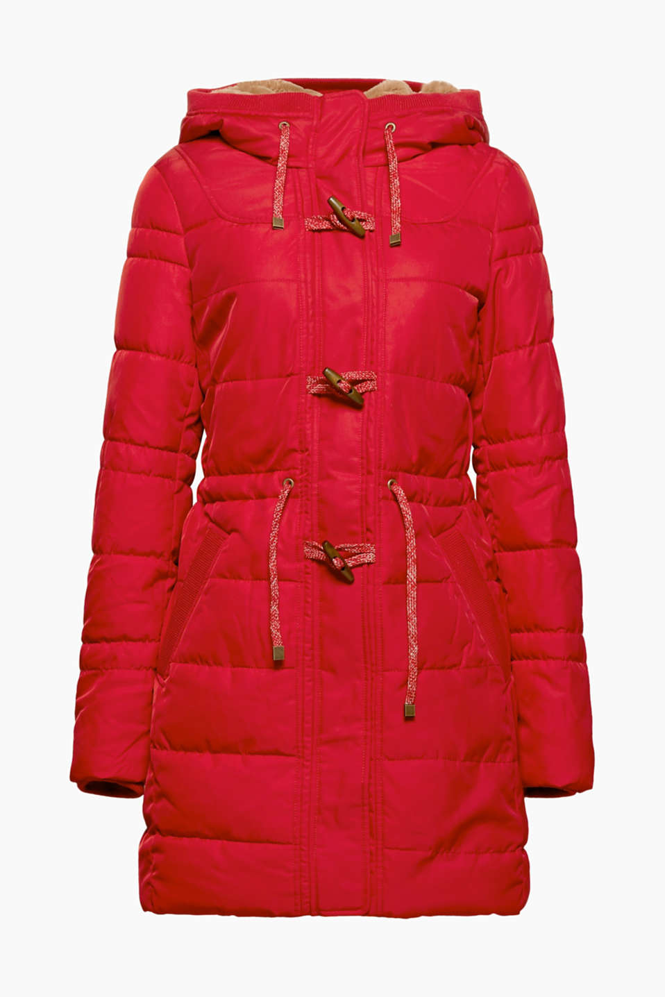 This quilted duffel coat with a cosy fake fur lining makes a stylish and reliable companion