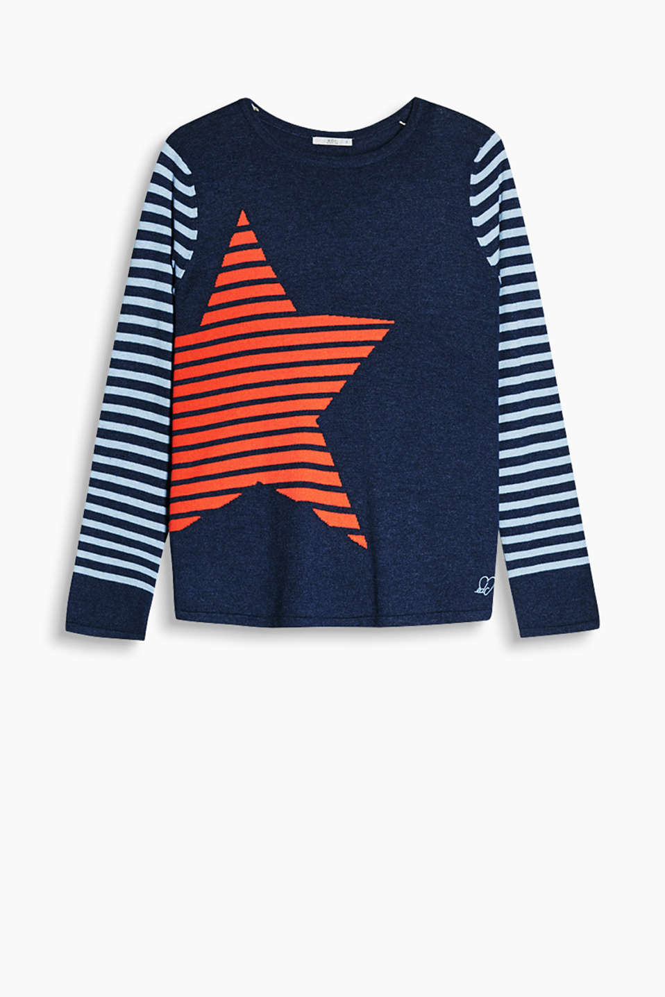 Jumper with striped sleeves and a star in blended cotton with wool