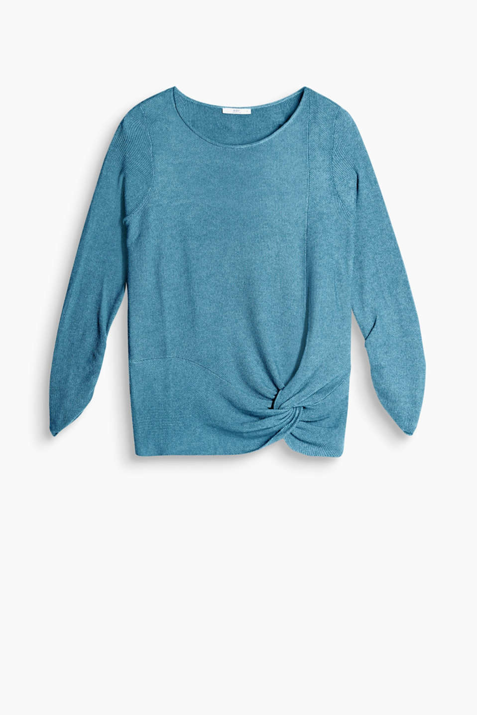 Jumper in a grainy purl knit with draped effects on the hem and sleeves
