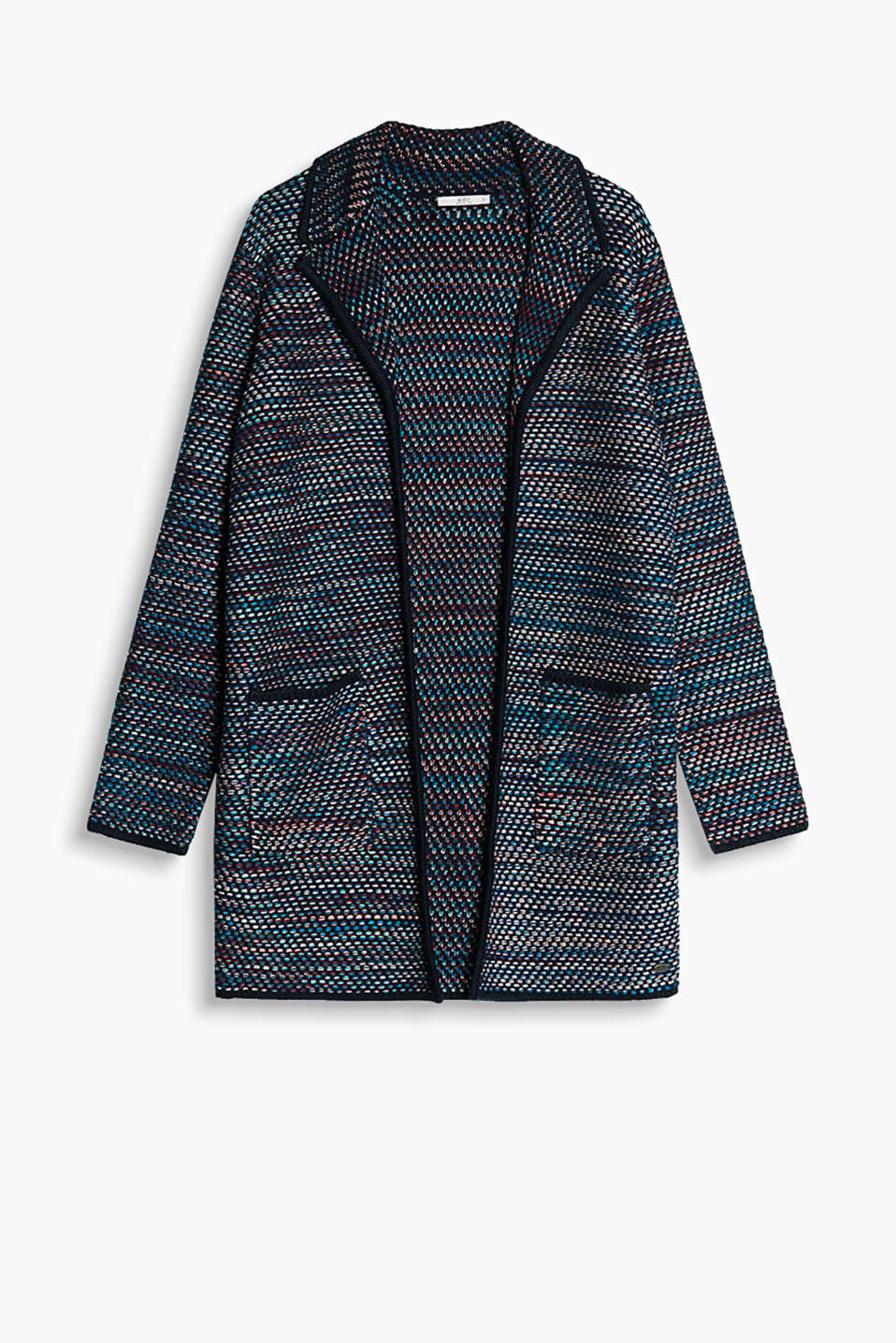 Open coat with a short lapel collar and patch pockets in chunky knit yarn with cotton