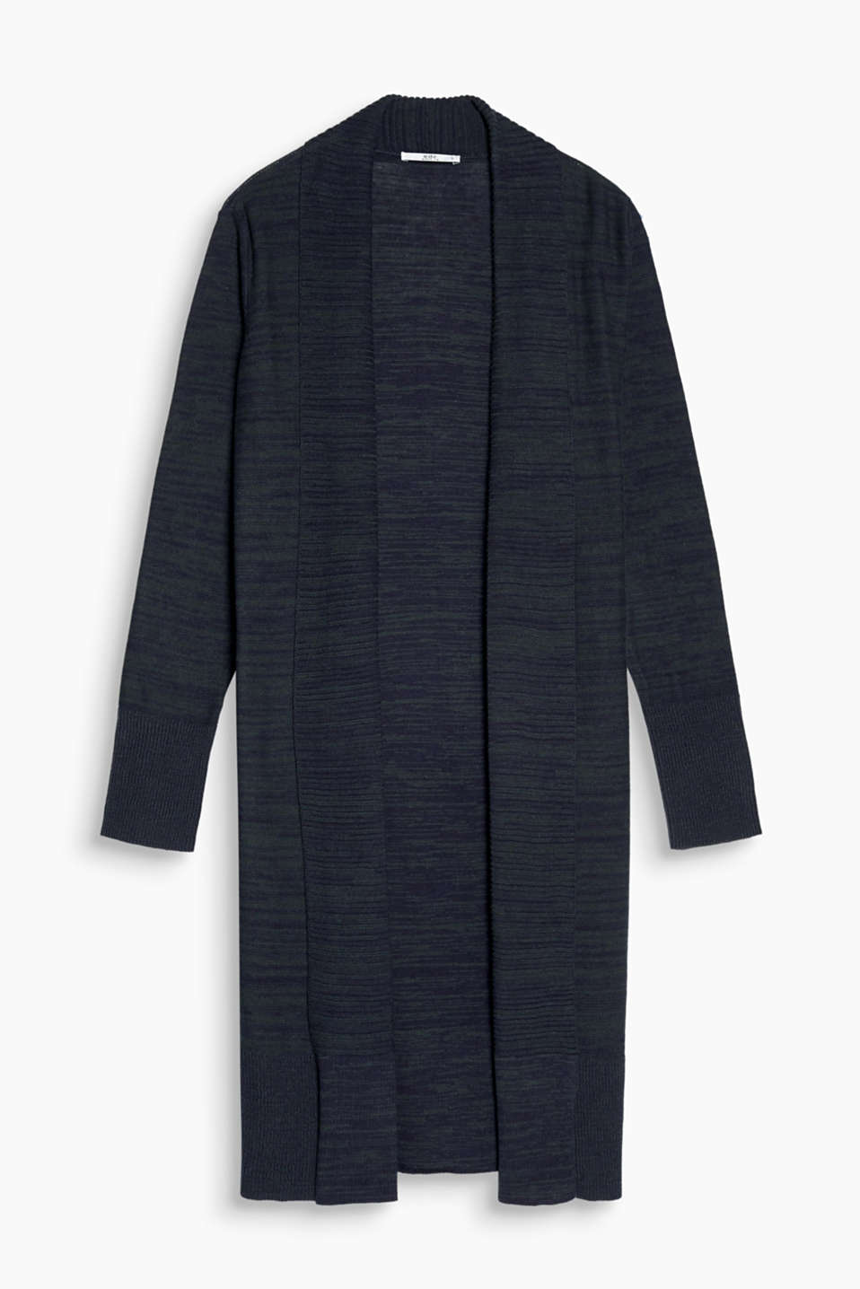 Open long cardigan in 100% cotton in a melange look with wide ribbed cuffs