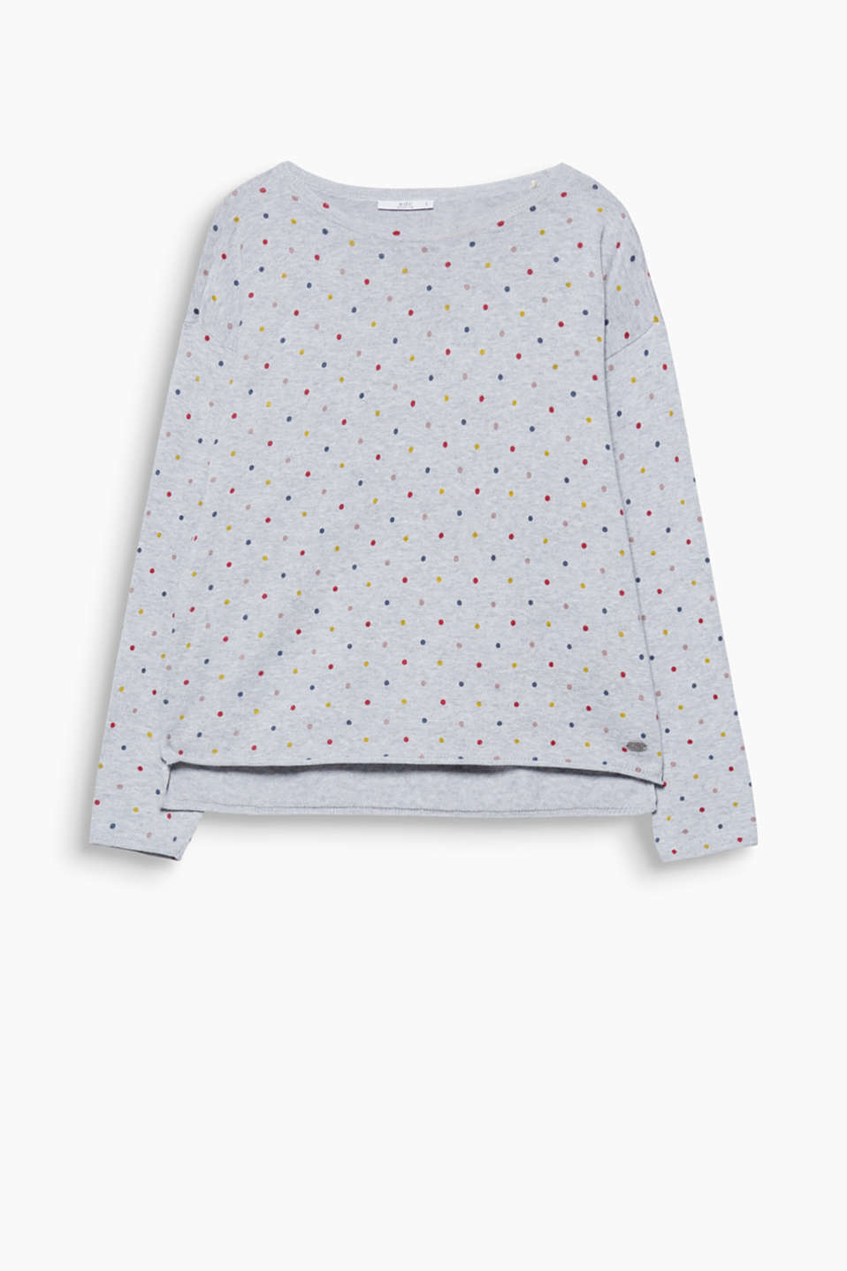 Fine-knit cotton jumper with polka dots, dropped shoulders and a high-low hem