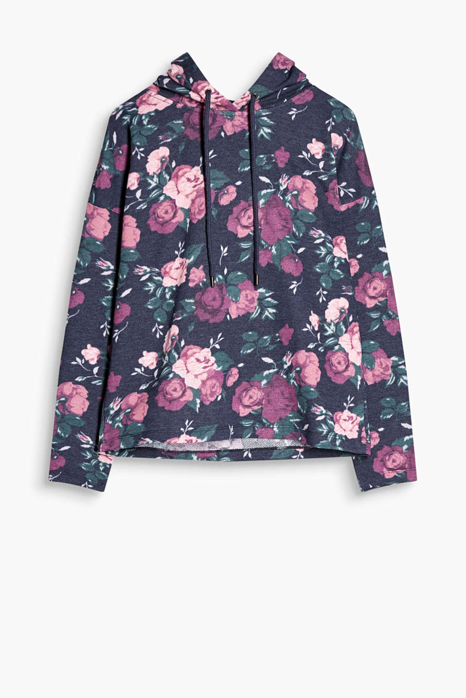 Hoodie in soft blended fabric with an all-over floral print with a hood and a drawstring