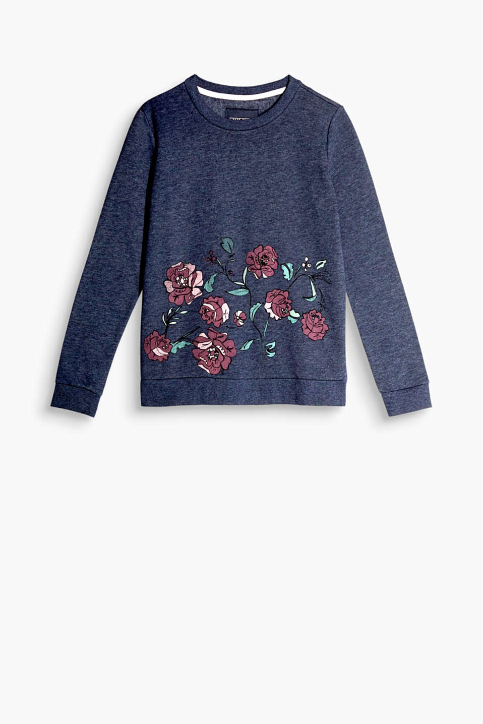 Blød sweatshirt med smart blomsterprint