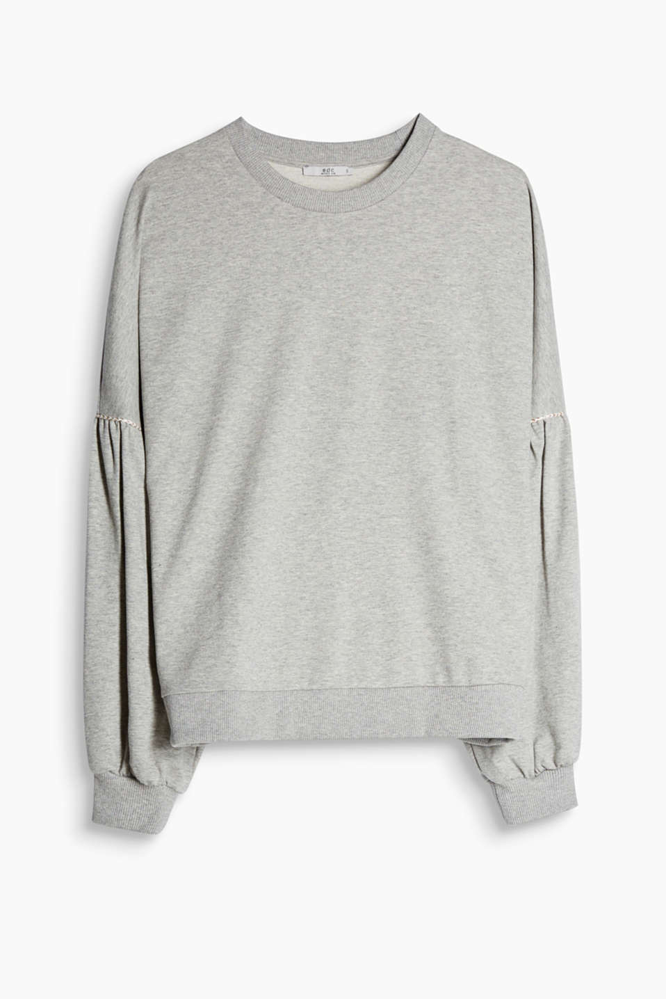 Sweatshirt with dropped shoulders and balloon sleeves made of soft blended cotton