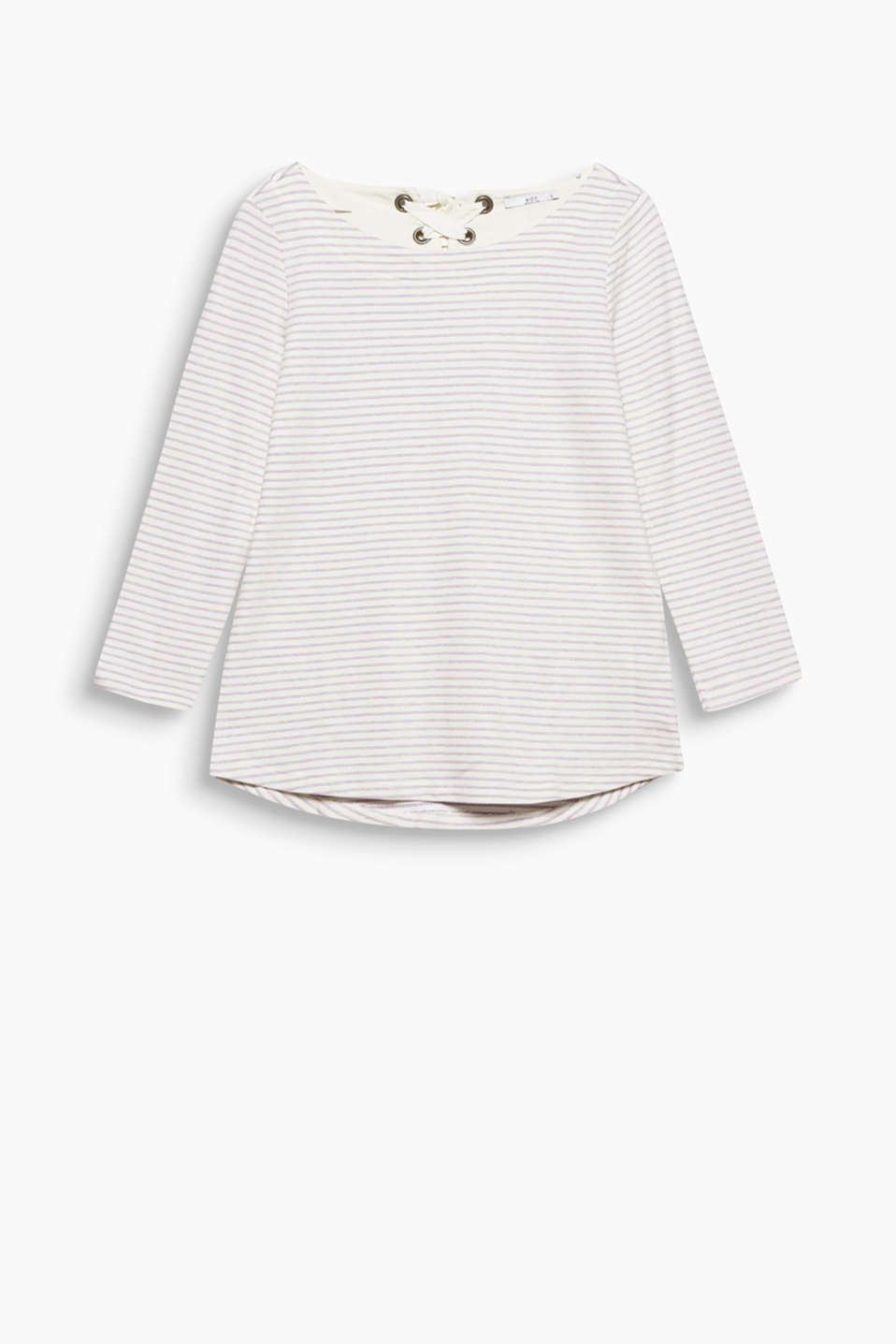 Soft striped top with a laced back neckline and all-over stripes