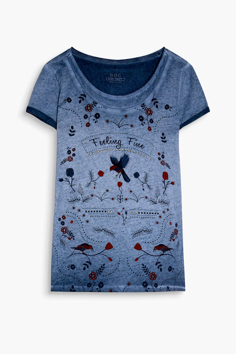 Slightly fitted printed top with a pigment dye effect and decorative studs, 100% cotton