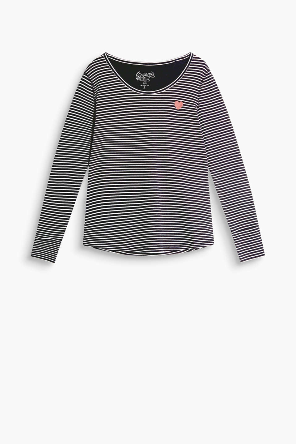 Soft striped long sleeve top with heart appliqué, organic cotton blend